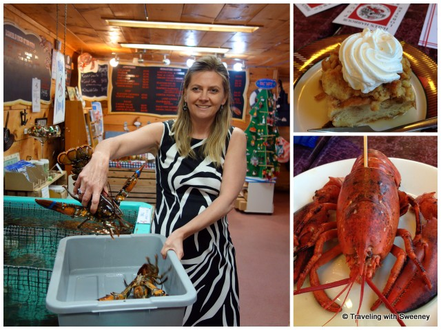"""""""Hall's Harbour General Manager Sharla Cameron selecting my live lobster, lobster ready to eat and delicious bread pudding dessert"""""""