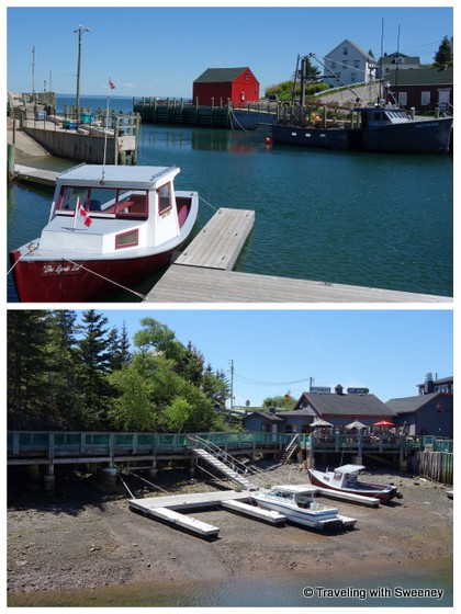 """Bay of Fundy tide phenomenon Hall's Harbour - Top: boat in the water Bottom: Same boat 2 hours later as tide recedes """