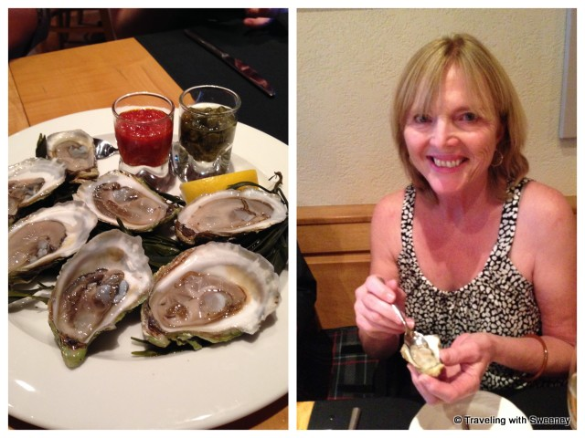"""Raw Nova Scotia oysters at Le Caveau in Grand Pre, Nova Scotia"""