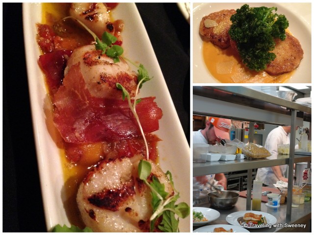 """Dinner at Le Caveau - Grilled Nova Scotia Sea Scallops with prosciutto, Sweet Potato Gnudi at Le Caveau in Grand Pre, Nova Scotia"""
