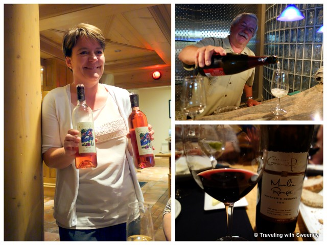 """Restaurant Le Caveau manager, Beatrice Stutz, Hanspeter Stutz, and one of my favorite wines -- Grand Pre Moulin Rouge"""