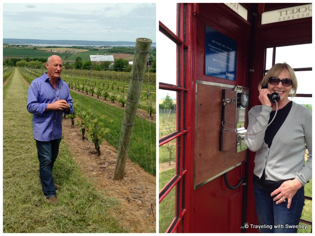 """Pete Luckett of Luckett Vineyards and the English phone box"""