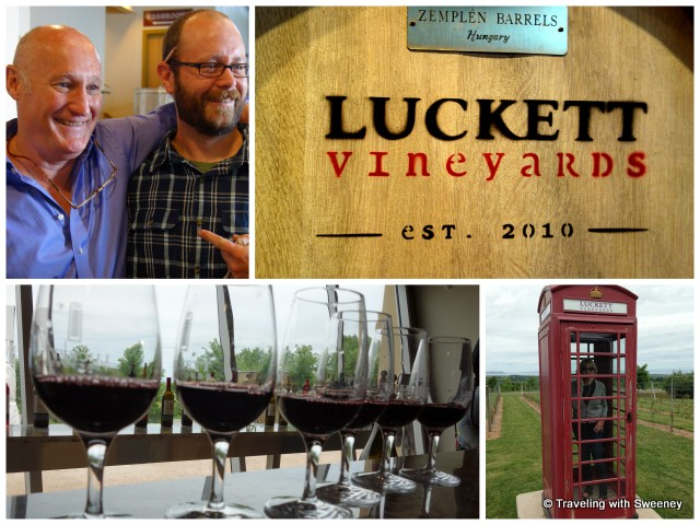 """""""Pete Luckett and winemaker Mike Mainguy; Cathy Sweeney making phone call from old English phone box"""""""