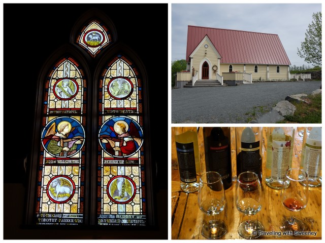 """Avondale Sky Winery stained glass windows, exterior, and selection of wines"""
