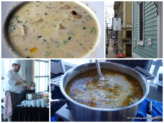 """Top: Corn Chowder at Salt Shaker Deli Bottom: Chef Mark Gabrieau and his seafood chowder"""