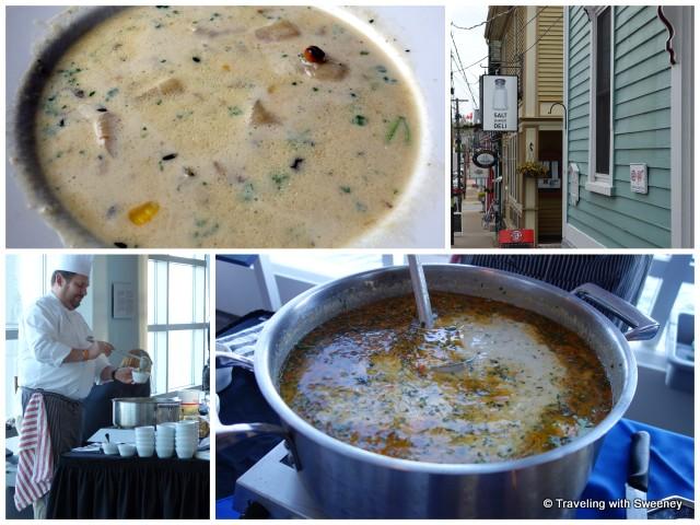 """Top: Corn Chowder at Salt Shaker Deli Bottom: Chef Mark Gabrieau and his seafood chowder"""
