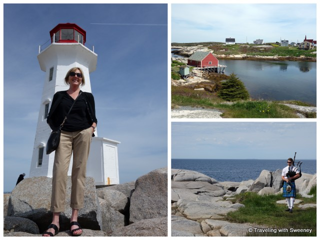"""Peggy's Cove lighthouse, village and a piper on the rocks"""