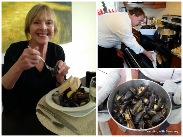 """""""Chef Konrad Haumering in the kitchen at Atlantic Oak Island Resort; my first mussels experience"""""""