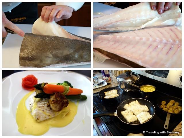"""Chef Konrad Haumering preparing fresh halibut  at Atlantica Hotel Oak Island Resort, Nova Scotia"""