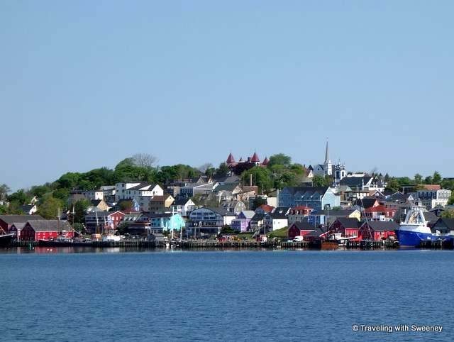 Lunenburg, Nova Scotia seen from a boat on the harbor