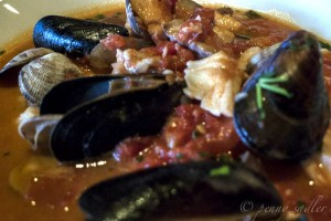 """Cioppino of rock fish, salmon, clams,mussels, and shrimp at Brannan's in Calistoga, Napa Valley"""