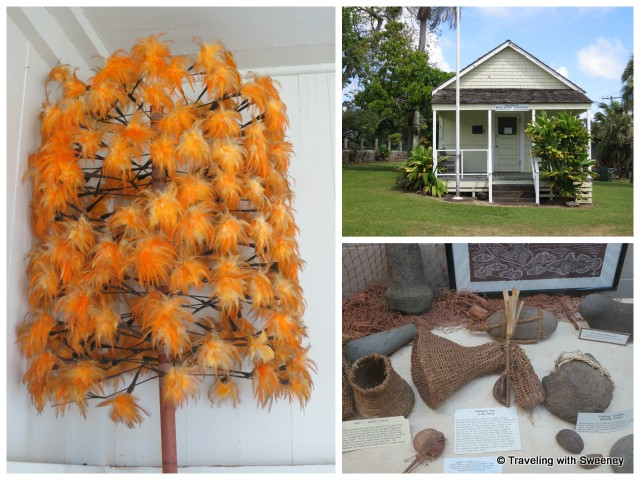 """Artifacts in Hana Cultural Center - orange feather staff, basket traps, octopus lure, fishing weights. Courthouse museum shown top right, Hana"""