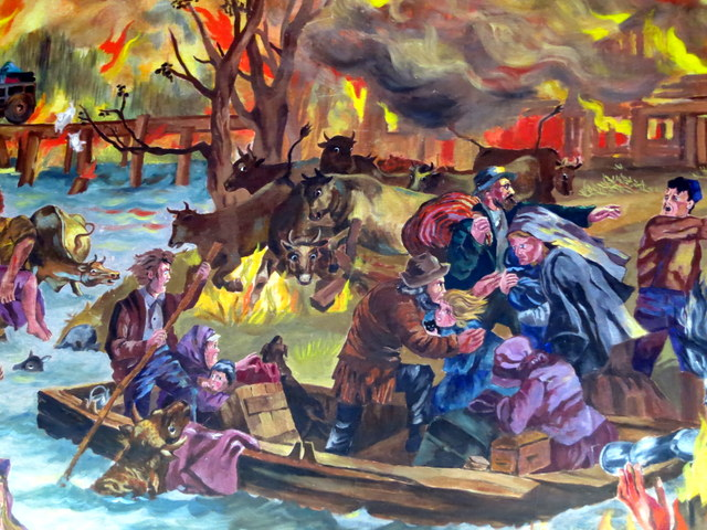 """Mural depicting the Peshtigo fire at the Peshtigo Fire Museum, Wisconsin"
