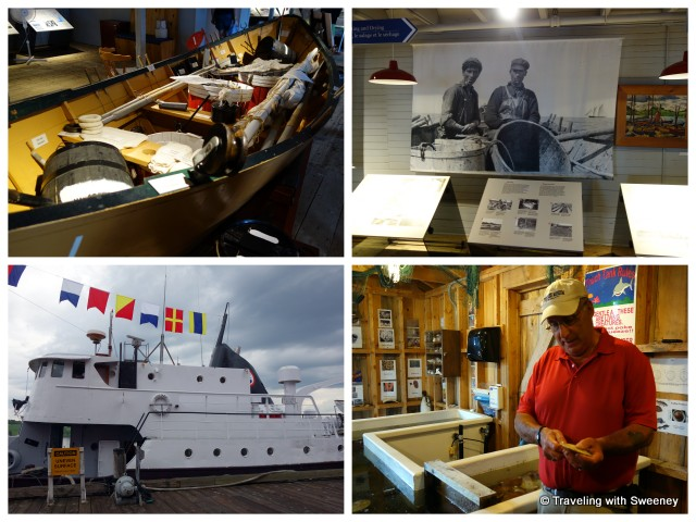 """Fisheries Museum of the Atlantic - from top: old cod-fishing boat,  historical photos, shucking a scallop, Cape Sable side trawler"""