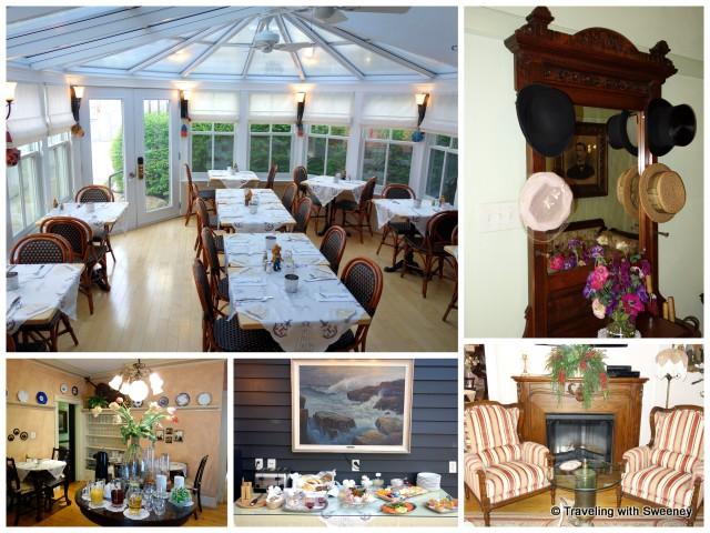 """Breakfast rooms, sitting room and interior decor of Mariner King Inn in Lunenburg, Nova Scotia"""