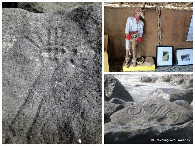 """Petroglyphs and museum display at Las Labradas, Sinaloa, Mexico"""