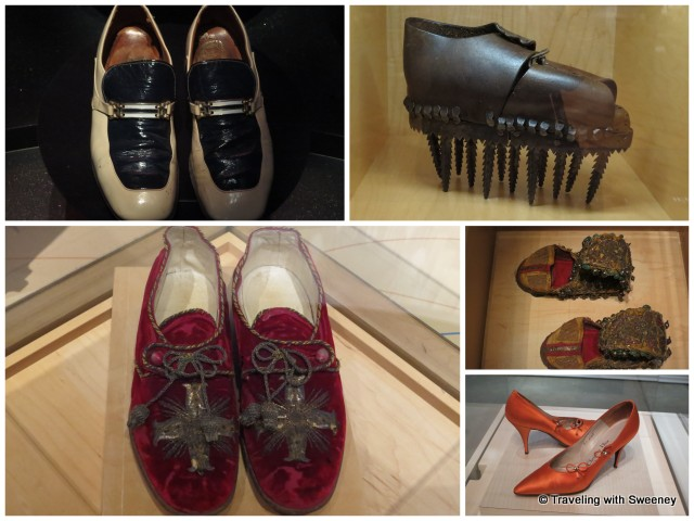 """""""From top left: Elvis Presley's shoes, chestnut-crushing shoe, Rajasthan dancer's shoe, Dior heels by Roger Vivier, and Pope Leo XIII's footwear at Bata Shoe Museum in Toronto, Ontario"""""""