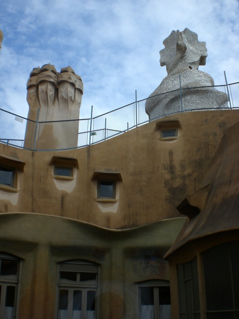 """Attic and rooftop chimneys of Casa Mila, Barcelona"""