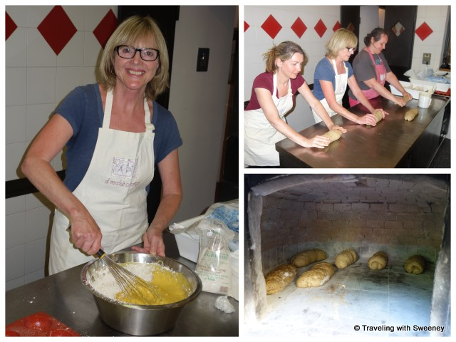 """Making bread at Al Vecchio Convento and outside wood-fired oven"""