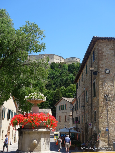 """Fortress of San Leo overlooking the town center"""