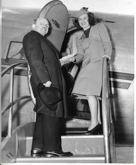 """Aunt Vi as TWA air hostess delivering shamrocks from Ireland to a priest in Zanesville, Ohio"""