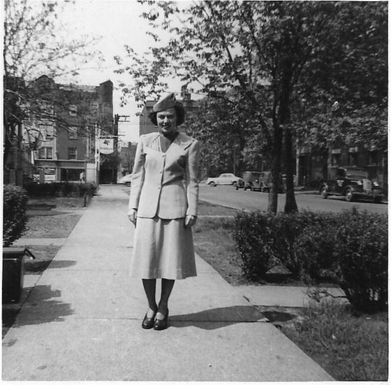 """TWA Air Hostess, Vi Ward, on Lowe Aveneue, Chicago"""