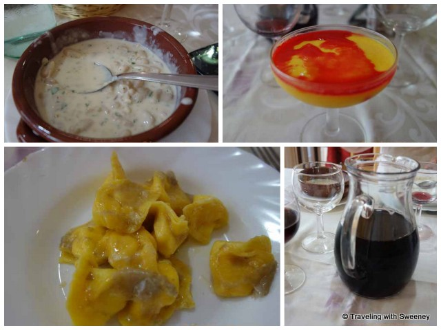 """""""Cheese and porcini pasta.lentil and porcini soup, pudding, and of course, red wine at Trattoria Ciccioni, Pereto"""""""