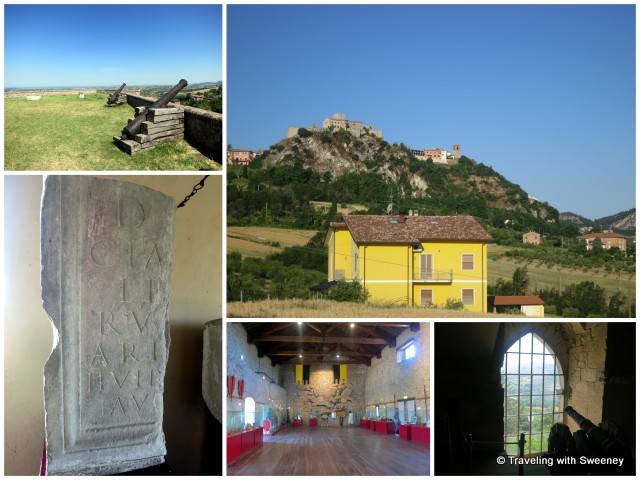 """Inside the Malatesta Fortress in Verucchio and a view of the fortress from the valley, Emilia-Romagna, Italy"""