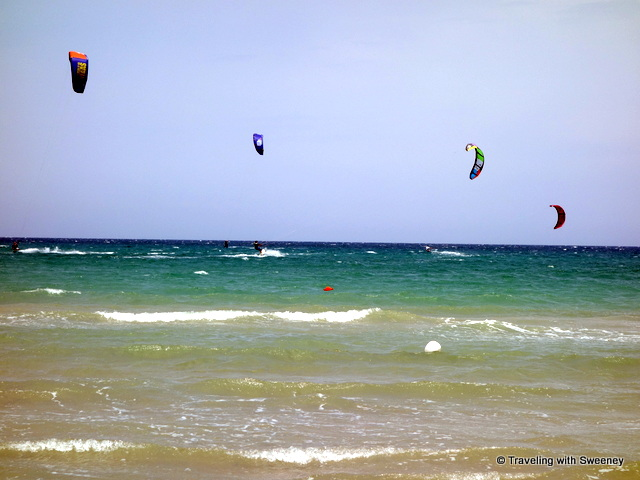 """Kite surfers at Guna Beach on a breezy day, Puglia"""