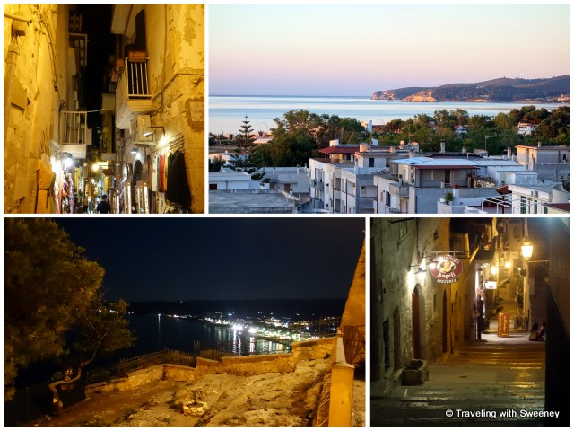 """Vieste sunset view from hotel and the old town at night"""