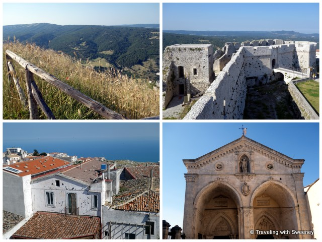 """Gargano Nat'l Park, Mont Sant'Angelo fortress, Shrine of St. Michael, view of the Adriatic over the rooftops, Puglia"""