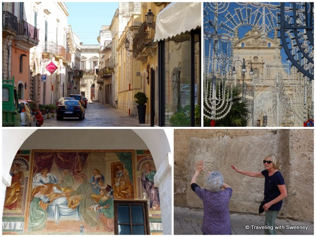 """Strolling the streets of Galatina and getting directions. Bottom left: frescoes at convent next to Basilica of St. Catherine of Alexandria"""