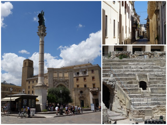 """Lecce: Roman ruins, a quiet side street, and the piazza"""