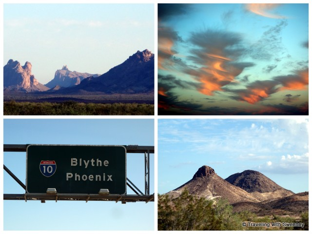 """Desert scenery and a beautiful sunset eading toward Phoenix on Interstate 10 """