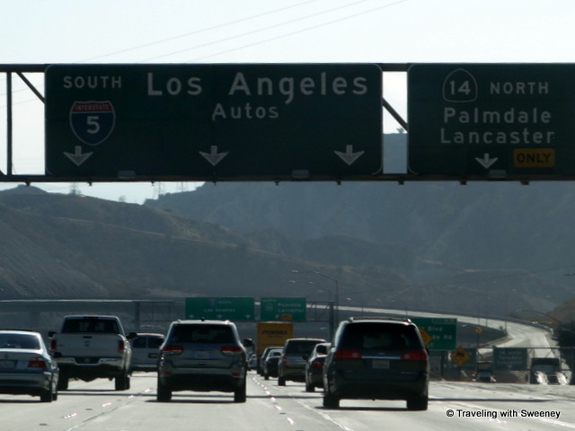 """Heading south into Los Angeles area on Interstate 5"""