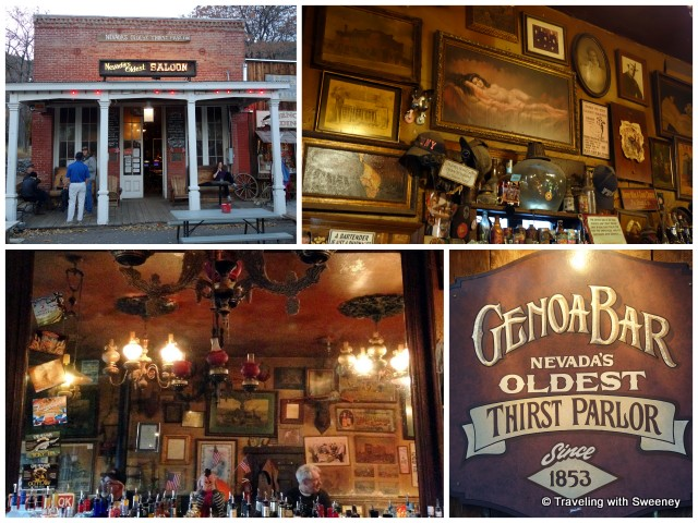 """""""Genoa Bar, the oldest """"thirst parlor"""" in Nevada; old west artifacts and 170 year old mirror from Scotland behind the bar"""""""