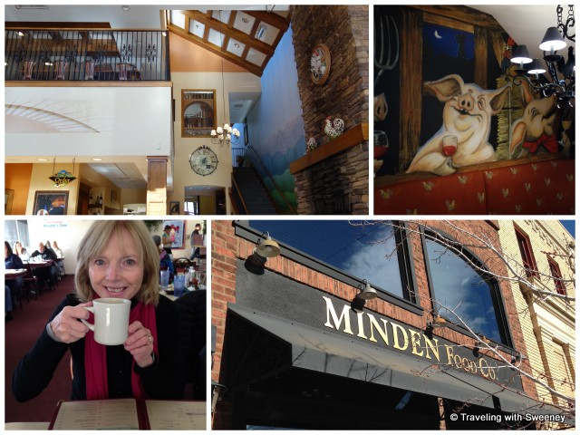 """Light and spacious Minden Food Company and whimsical mural; much-needed coffee at Woodett's Diner, Carson Valley, Nevada"""