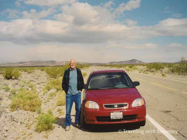 """Dad on Route 66 in the Mojave Desert, California"""