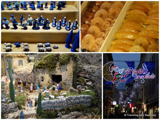 """Hand-crafted santons, crystallized fruit at Jouvaud Patisserie, festive street decorations, and the traditional Christmas nativity scene in Carpentras"""
