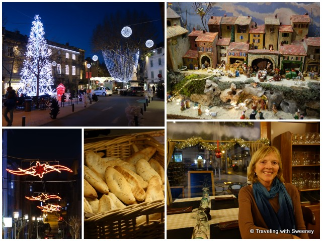"""Christmas decorations, nativity scene and traditional pastries in Salon-de-Provence, France"""