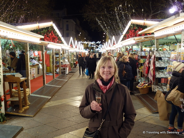 A taste of champagne at the Christmas market in Avignon, France