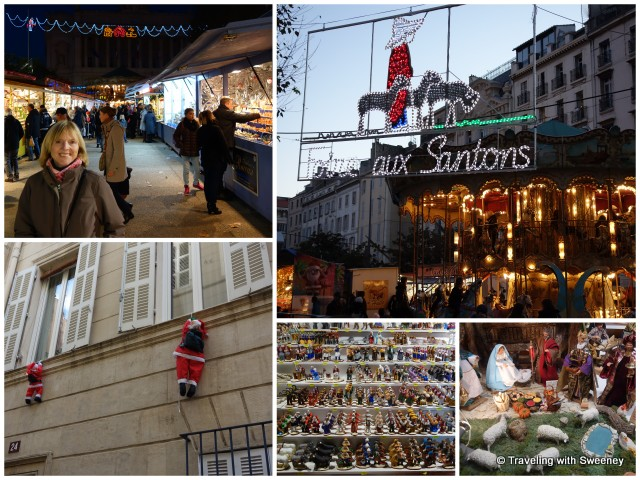 """Santons market and fair and whimsical Santas in Marseille, France"""