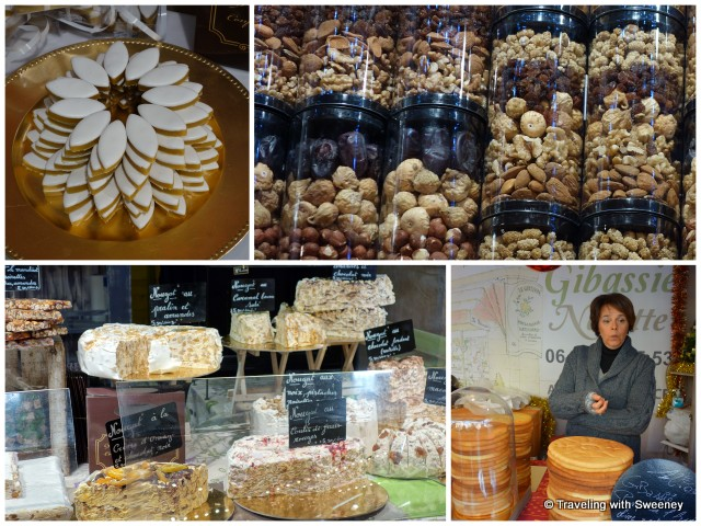 A sampling of the 13 Desserts: Calissons d'Aix, fruits and nuts, nougat, and pompe a l'huile (sweet bread made with olive oil) -- sweet Christmas traditions in Provence