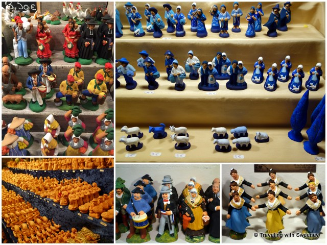 Figurines (painted and unpainted) for sale at the annual santon fair in Carpentras, France