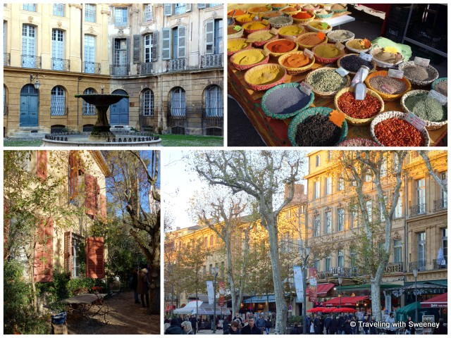 """Aix - City of 1000 fountains, spices at the open-air market, boulevard, and Cezanne's studio"""