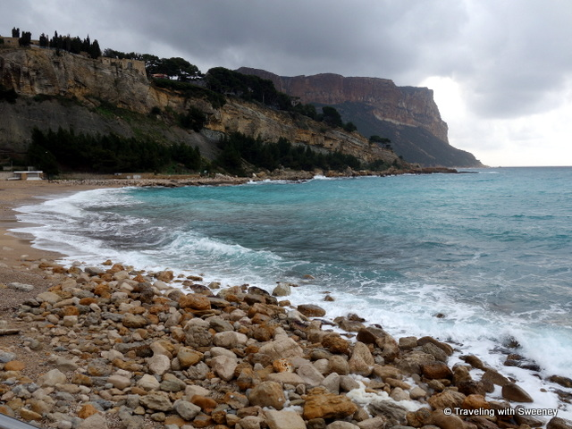 """Cap Canaille from the beach (Plage de la Grande Mer) at the harbor of Cassis"""