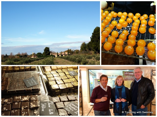 """Provence countryside near Cavaillon, crystallized fruit, olive oil tasting, chocolates at a patisserie in Cavaillon"""