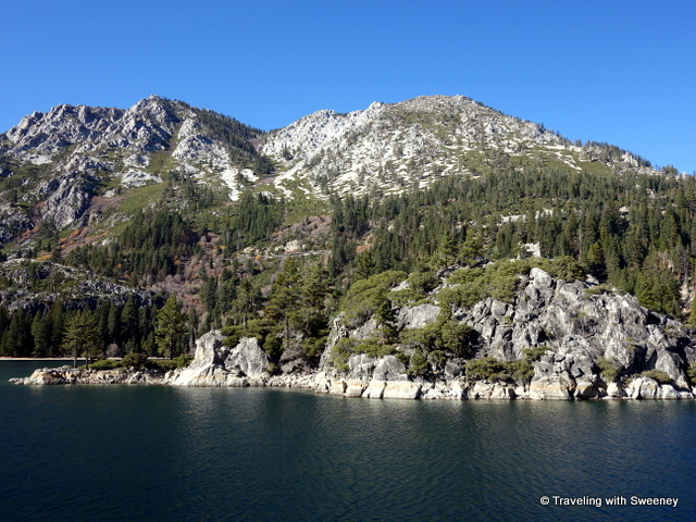 """Fannette Island and shoreline of Emerald Bay, Lake Tahoe"""