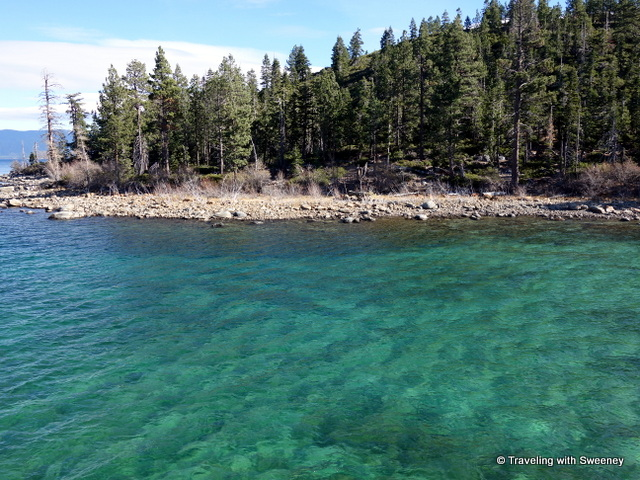 """Shallow, clear water of Lake Tahoe at Emerald Bay"""