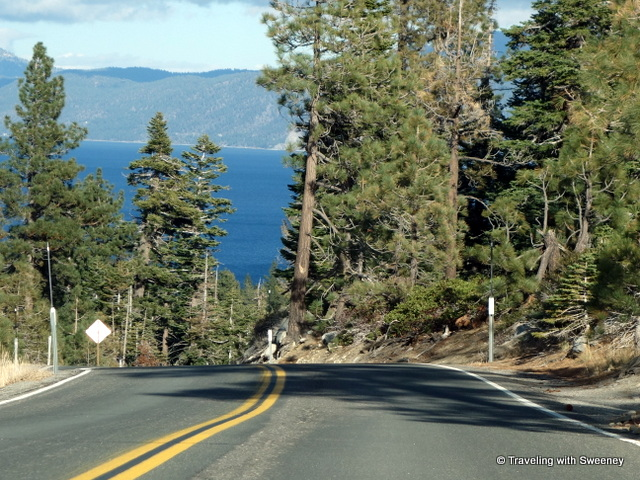 """Winding and scenic Highway 89 above Lake Tahoe"""
